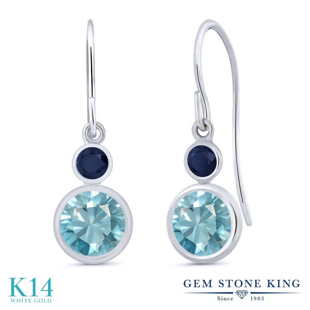 Gem Stone King 2.66カラット 天然石 ブルージルコン 天然 サファイア 14金 ホワイトゴールド(K14) ピアス レディース 大粒 ぶら下がり フレンチワイヤー 天然石 12月 誕生石 金属アレルギー対応 誕生日プレゼント