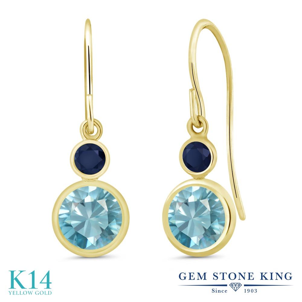Gem Stone King 2.66カラット 天然石 ブルージルコン 天然 サファイア 14金 イエローゴールド(K14) ピアス レディース 大粒 ぶら下がり フレンチワイヤー 天然石 12月 誕生石 金属アレルギー対応 誕生日プレゼント