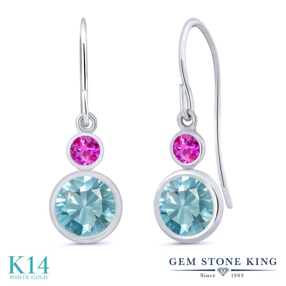 Gem Stone King 2.66カラット 天然石 ブルージルコン ピンクサファイア 14金 ホワイトゴールド(K14) ピアス レディース 大粒 ぶら下がり フレンチワイヤー 天然石 12月 誕生石 金属アレルギー対応 誕生日プレゼント