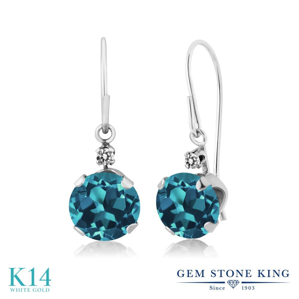 Gem Stone King 1.53カラット 天然 ロンドンブルートパーズ 天然 ダイヤモンド 14金 ホワイトゴールド(K14) ピアス レディース ぶら下がり アメリカン 揺れる 天然石 11月 誕生石 金属アレルギー対応 誕生日プレゼント