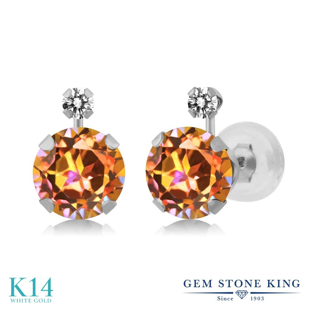 Gem Stone King 1.97カラット 天然石 エクスタシーミスティックトパーズ 天然 ダイヤモンド 14金 ホワイトゴールド(K14) ピアス レディース スタッド 天然石 金属アレルギー対応 誕生日プレゼント