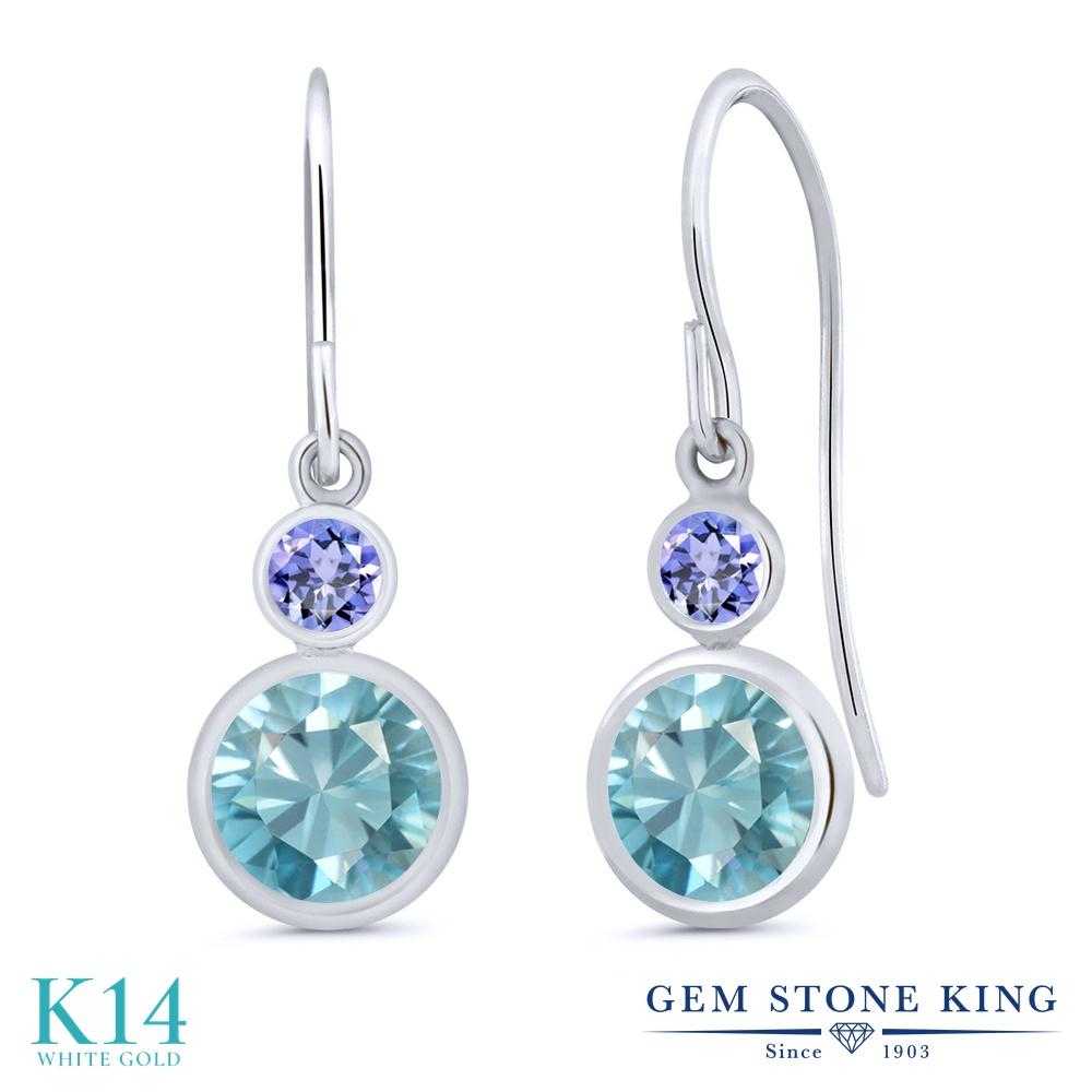Gem Stone King 2.64カラット 天然石 ブルージルコン 天然石 タンザナイト 14金 ホワイトゴールド(K14) ピアス レディース 大粒 ぶら下がり フレンチワイヤー 天然石 12月 誕生石 金属アレルギー対応 誕生日プレゼント