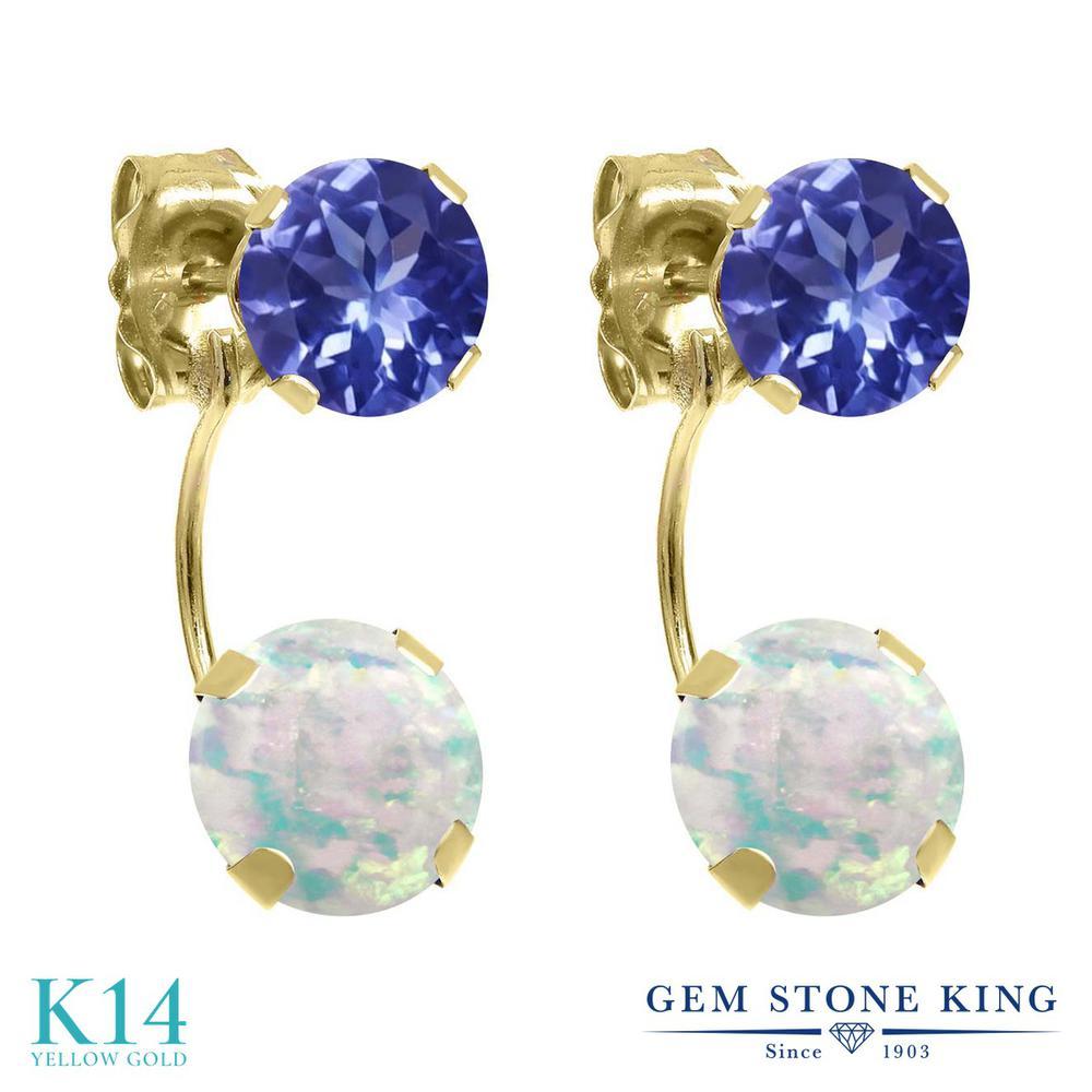 Gem Stone King 2.22カラット シミュレイテッド ホワイトオパール 天然石 タンザナイト 14金 イエローゴールド(K14) ピアス レディース ぶら下がり 10月 誕生石 金属アレルギー対応 誕生日プレゼント