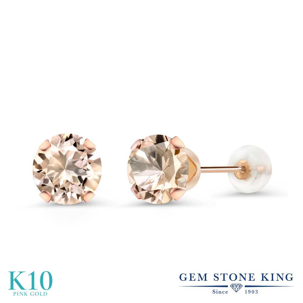 Gem Stone King 1.2カラット 天然 モルガナイト (ピーチ) 10金 ピンクゴールド(K10) ピアス レディース シンプル スタッド 天然石 3月 誕生石 金属アレルギー対応 誕生日プレゼント