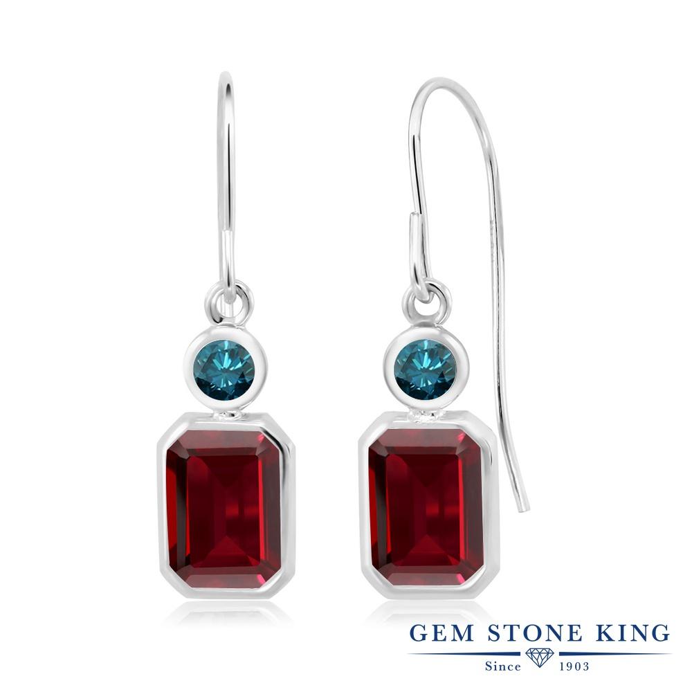 Gem Stone King 3.8カラット 天然 ガーネット 天然 ブルーダイヤモンド シルバー925 ピアス レディース 大粒 ぶら下がり フレンチワイヤー 天然石 1月 誕生石 金属アレルギー対応 誕生日プレゼント