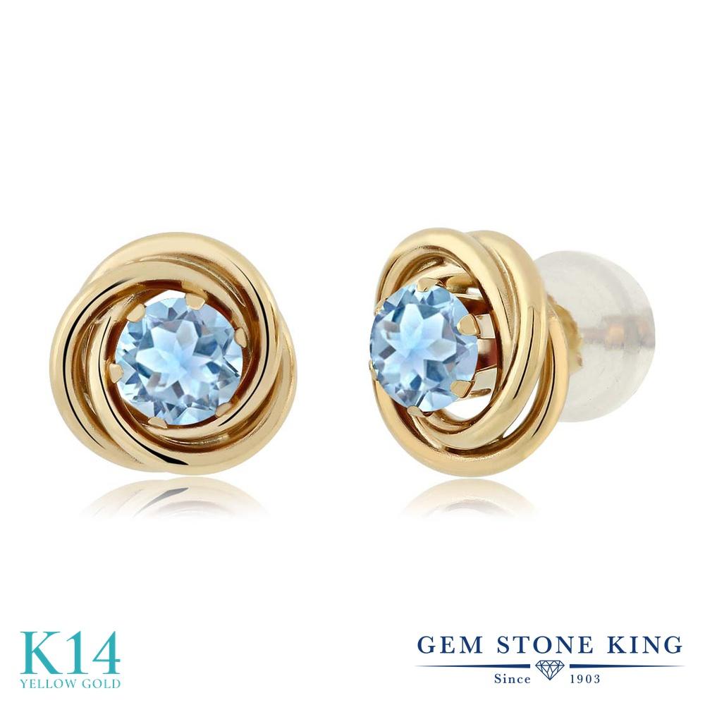 Gem Stone King 0.44カラット 天然 アクアマリン 14金 イエローゴールド(K14) ピアス レディース 小粒 シンプル スタッド 天然石 3月 誕生石 金属アレルギー対応 誕生日プレゼント