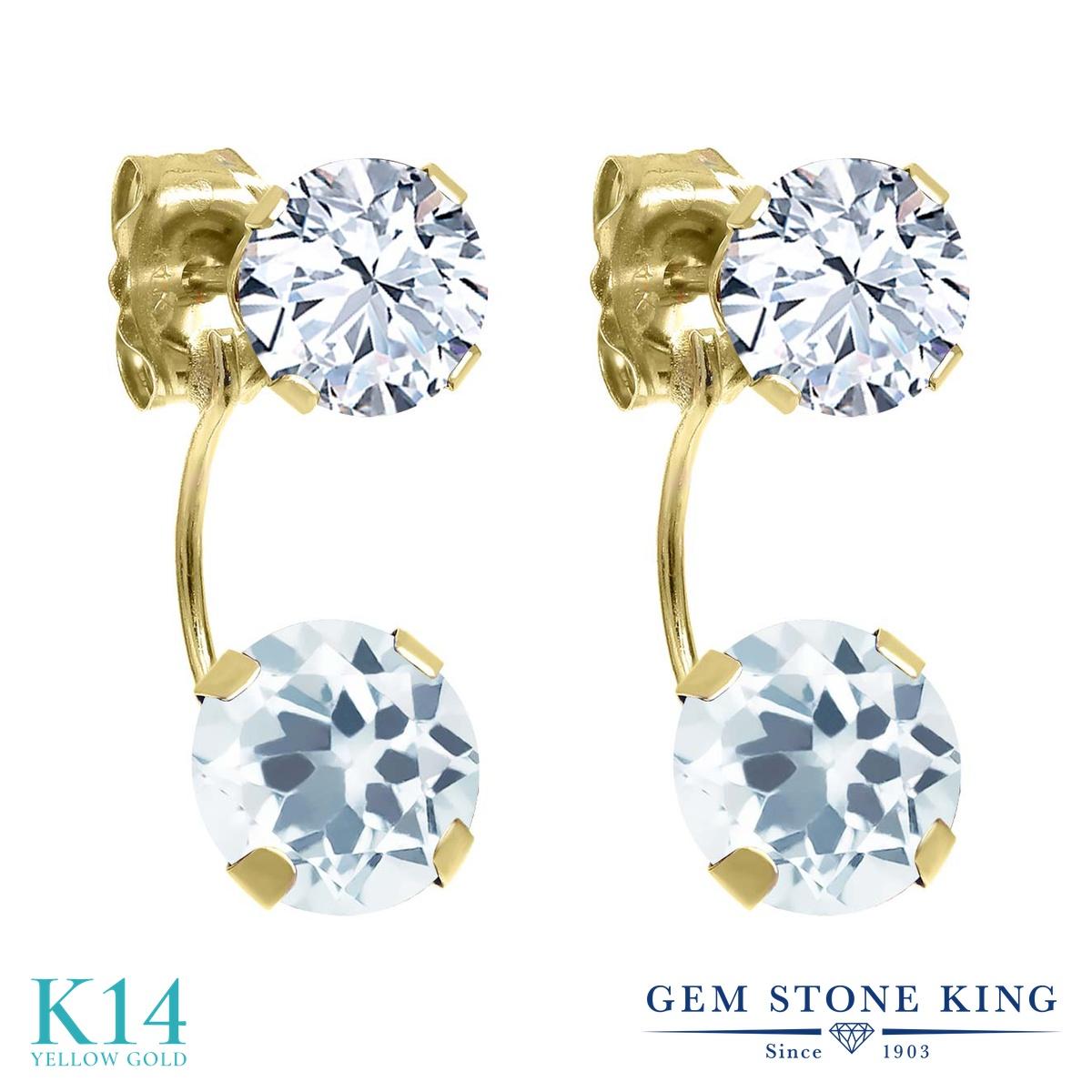 Gem Stone King 2.7カラット 天然アクアマリン 天然トパーズ(無色透明) 14金 イエローゴールド(K14) ピアス レディース ぶら下がり 天然石 誕生石 金属アレルギー対応 誕生日プレゼント