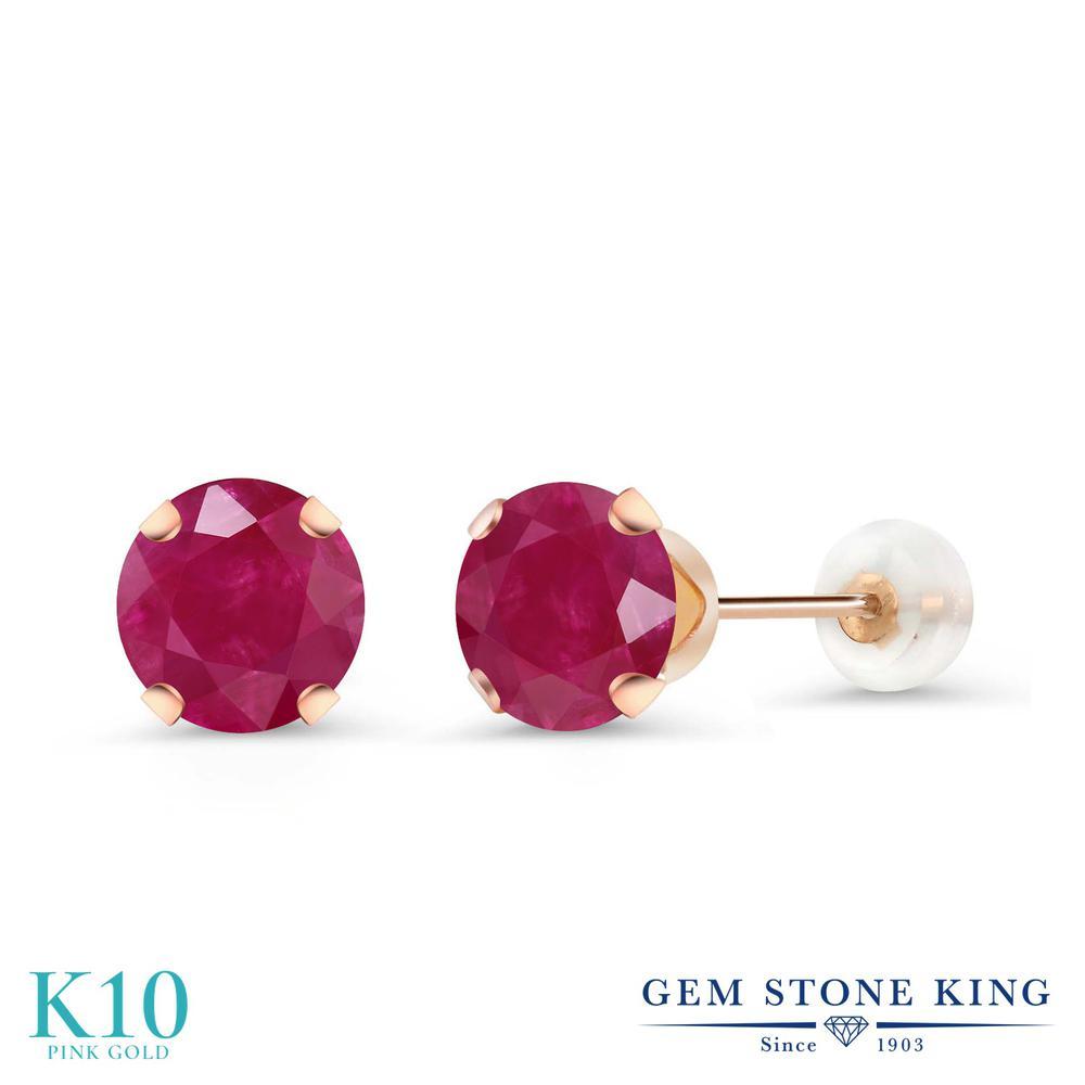 Gem Stone King 2カラット 天然 ルビー 10金 ピンクゴールド(K10) ピアス レディース 大粒 シンプル スタッド 天然石 7月 誕生石 金属アレルギー対応 誕生日プレゼント