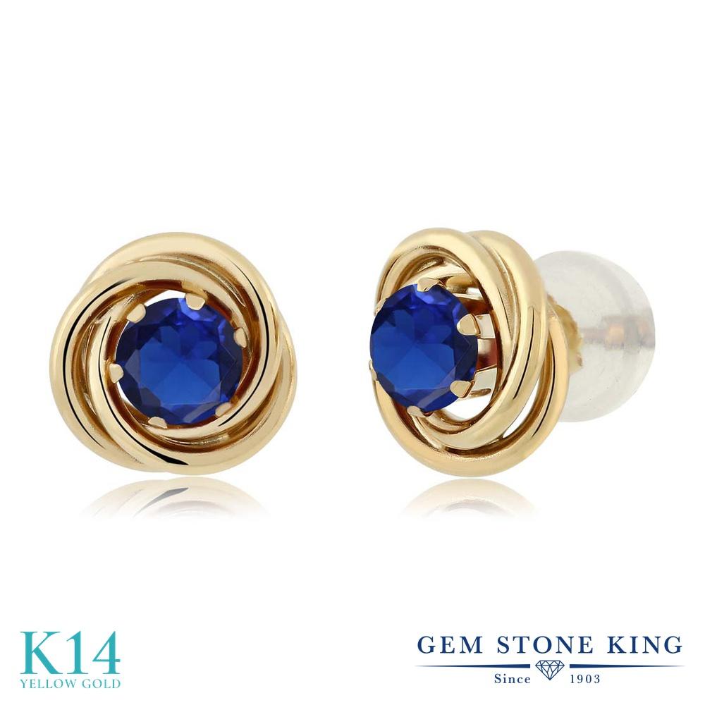 Gem Stone King 0.5カラット シミュレイテッド サファイア 14金 イエローゴールド(K14) ピアス レディース 小粒 シンプル スタッド 金属アレルギー対応 誕生日プレゼント