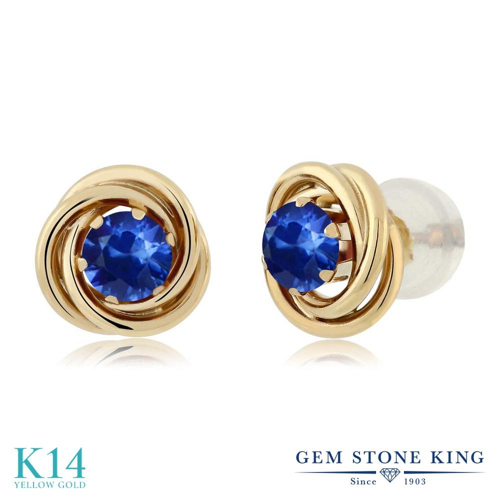 Gem Stone King 0.72カラット 天然 サファイア 14金 イエローゴールド(K14) ピアス レディース 小粒 シンプル スタッド 天然石 9月 誕生石 金属アレルギー対応 誕生日プレゼント