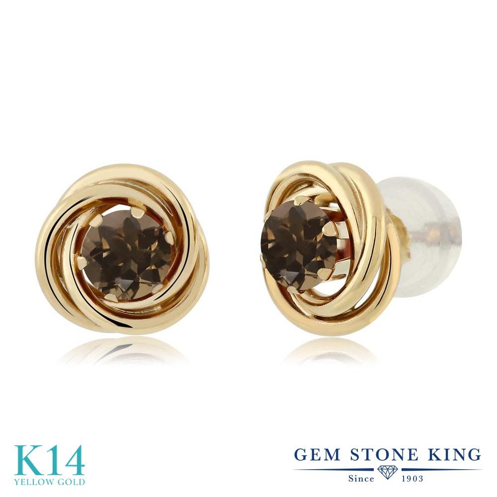 Gem Stone King 0.52カラット 天然 スモーキークォーツ (ブラウン) 14金 イエローゴールド(K14) ピアス レディース 小粒 シンプル スタッド 天然石 金属アレルギー対応 誕生日プレゼント
