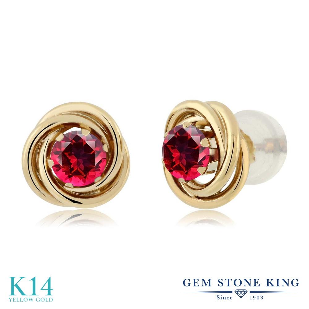 Gem Stone King 0.6カラット 天然石 レッドトパーズ (スワロフスキー 天然石シリーズ) 14金 イエローゴールド(K14) ピアス レディース 小粒 シンプル スタッド 天然石 金属アレルギー対応 誕生日プレゼント