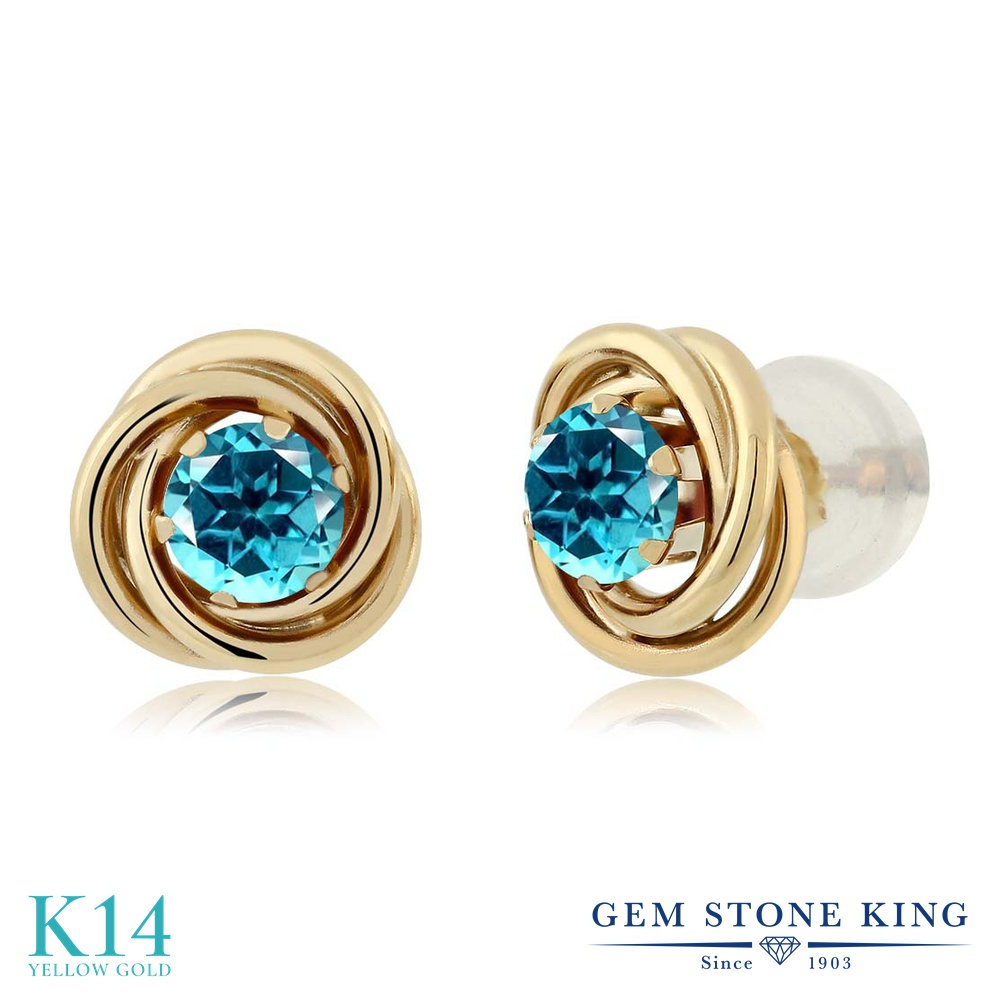 Gem Stone King 0.6カラット 天然石 パライバトパーズ (スワロフスキー 天然石シリーズ) 14金 イエローゴールド(K14) ピアス レディース 小粒 シンプル スタッド 天然石 金属アレルギー対応 誕生日プレゼント