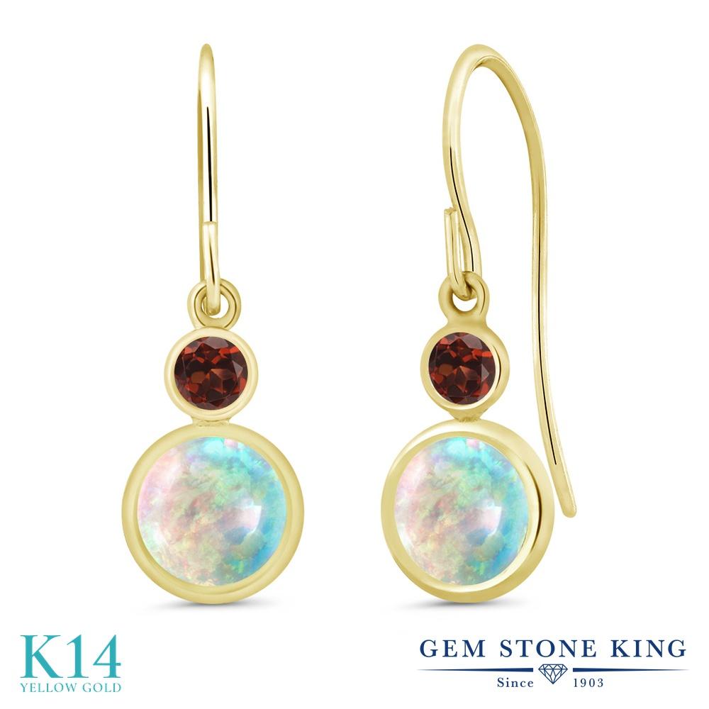Gem Stone King 1.54カラット シミュレイテッド ホワイトオパール 天然 ガーネット 14金 イエローゴールド(K14) ピアス レディース ぶら下がり フレンチワイヤー 10月 誕生石 金属アレルギー対応 誕生日プレゼント