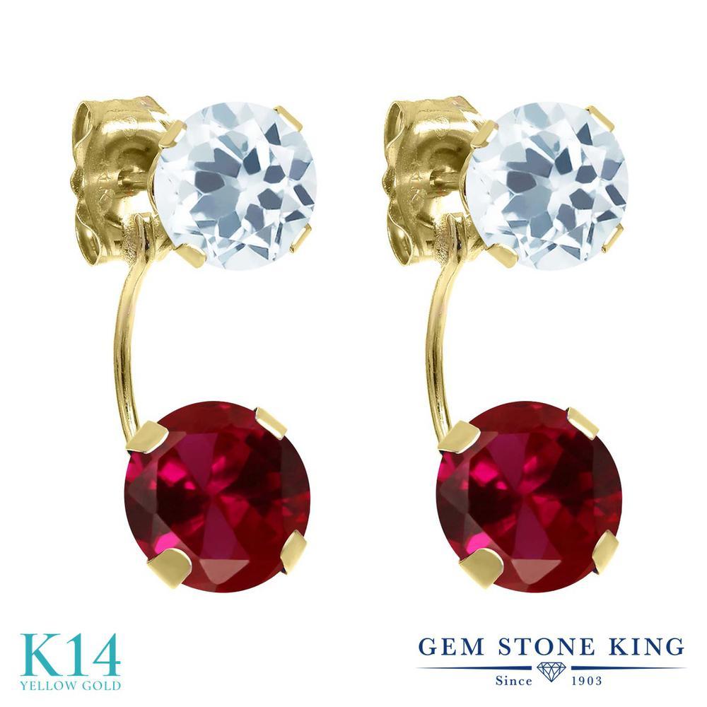 Gem Stone King 2.9カラット 合成ルビー 天然 アクアマリン 14金 イエローゴールド(K14) ピアス レディース 大粒 ぶら下がり 金属アレルギー対応 誕生日プレゼント