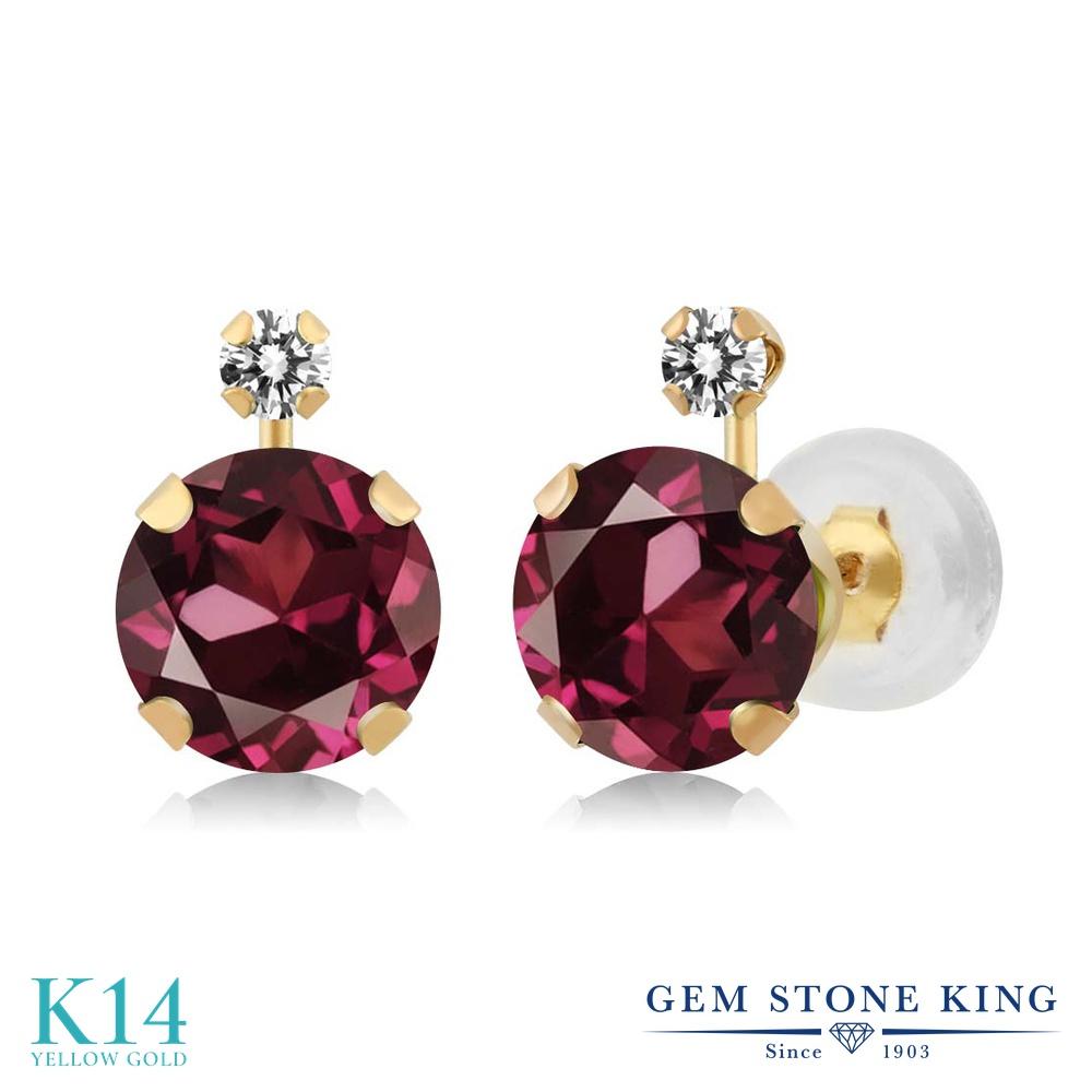 Gem Stone King 2.07カラット 天然 ロードライトガーネット 天然 ダイヤモンド 14金 イエローゴールド(K14) ピアス レディース 大粒 スタッド 天然石 金属アレルギー対応 誕生日プレゼント