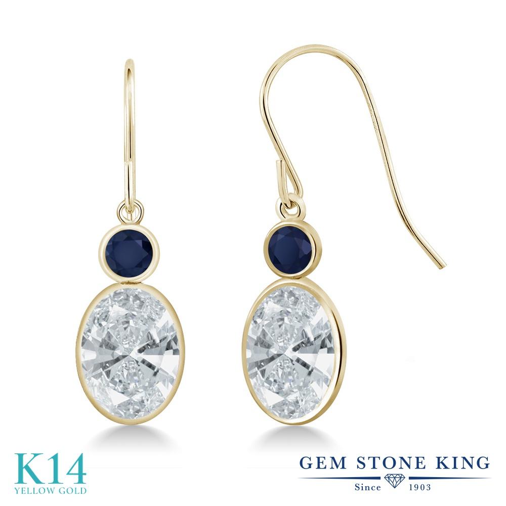 Gem Stone King 2.68カラット スワロフスキージルコニア (無色透明) 天然 サファイア 14金 イエローゴールド(K14) ピアス レディース CZ 大粒 ぶら下がり フレンチワイヤー 金属アレルギー対応 誕生日プレゼント