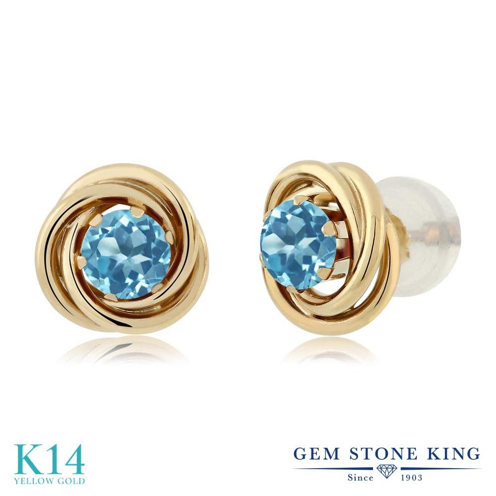 Gem Stone King 0.66カラット 天然 スイスブルートパーズ 14金 イエローゴールド(K14) ピアス レディース 小粒 シンプル スタッド 天然石 11月 誕生石 金属アレルギー対応 誕生日プレゼント