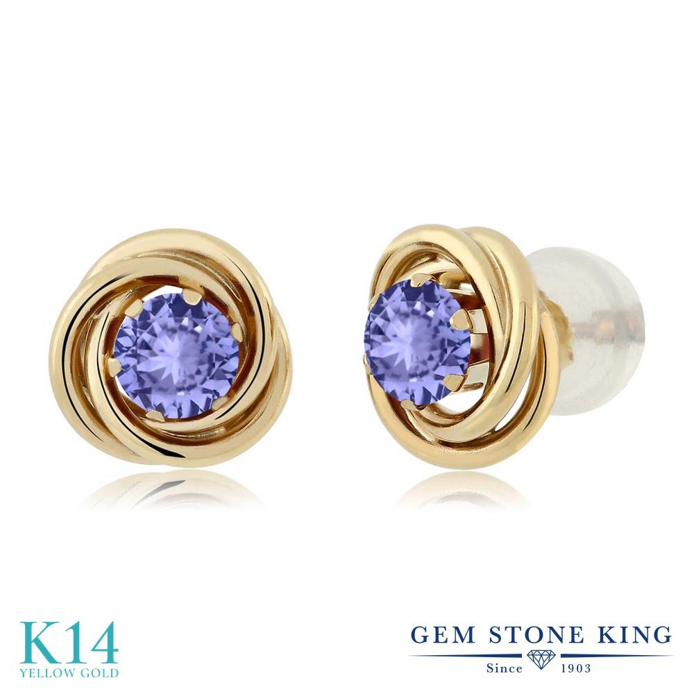 Gem Stone King 0.6カラット 天然石 タンザナイト 14金 イエローゴールド(K14) ピアス レディース 小粒 シンプル スタッド 天然石 12月 誕生石 金属アレルギー対応 誕生日プレゼント