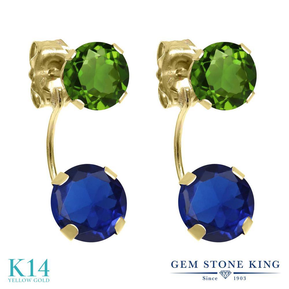 Gem Stone King 3.00カラット シミュレイテッドサファイア 天然クロムダイオプサイド 14金 イエローゴールド(K14) ピアス レディース 大粒 ぶら下がり 金属アレルギー対応 誕生日プレゼント