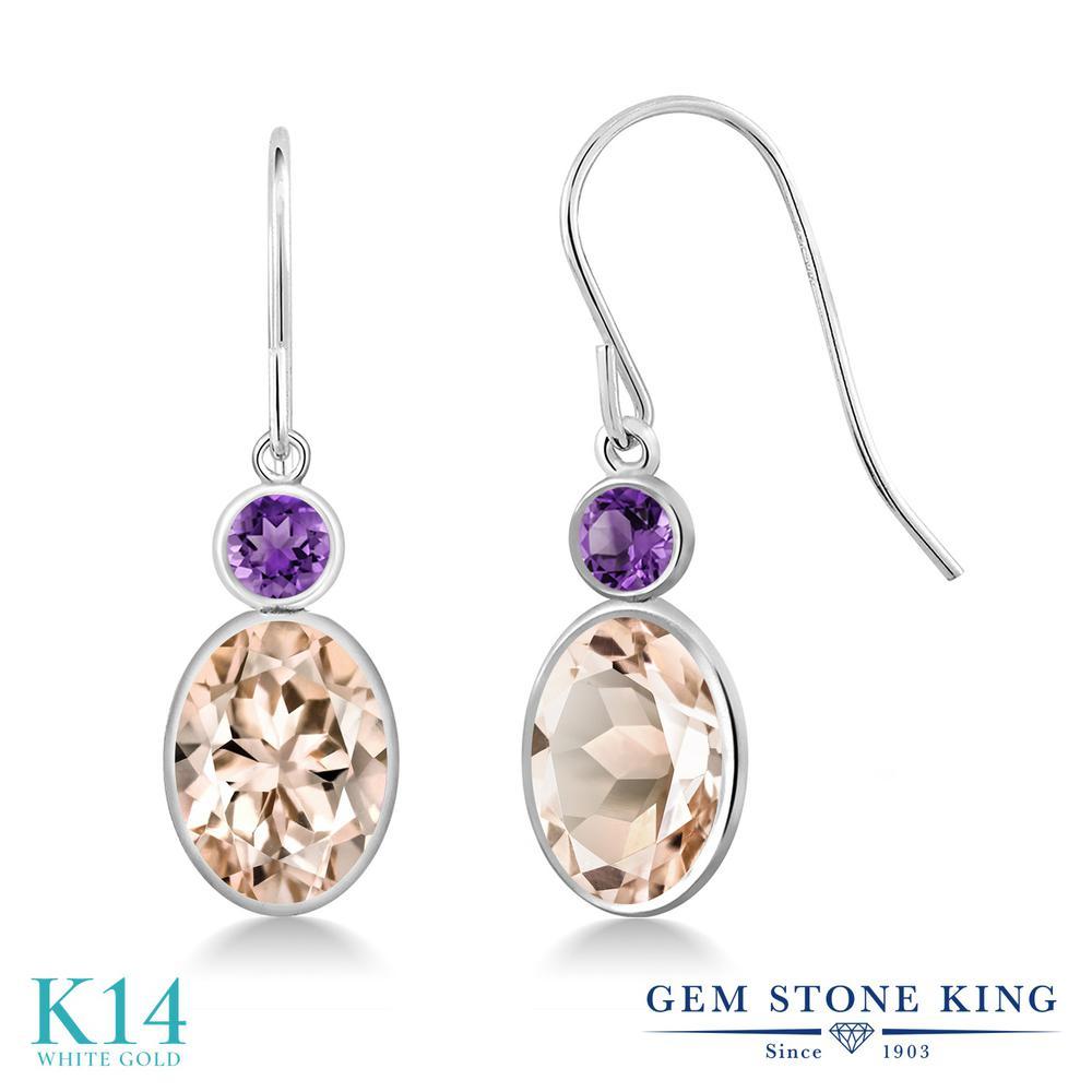 Gem Stone King 2.2カラット 天然 モルガナイト (ピーチ) 天然 アメジスト 14金 ホワイトゴールド(K14) ピアス レディース 大粒 ぶら下がり フレンチワイヤー 天然石 3月 誕生石 金属アレルギー対応 誕生日プレゼント