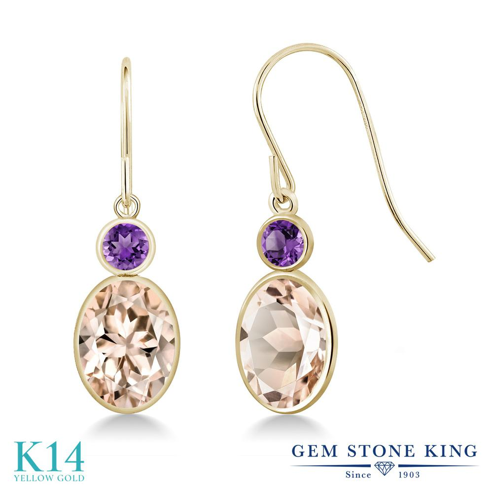 Gem Stone King 2.2カラット 天然 モルガナイト (ピーチ) 天然 アメジスト 14金 イエローゴールド(K14) ピアス レディース 大粒 ぶら下がり フレンチワイヤー 天然石 3月 誕生石 金属アレルギー対応 誕生日プレゼント