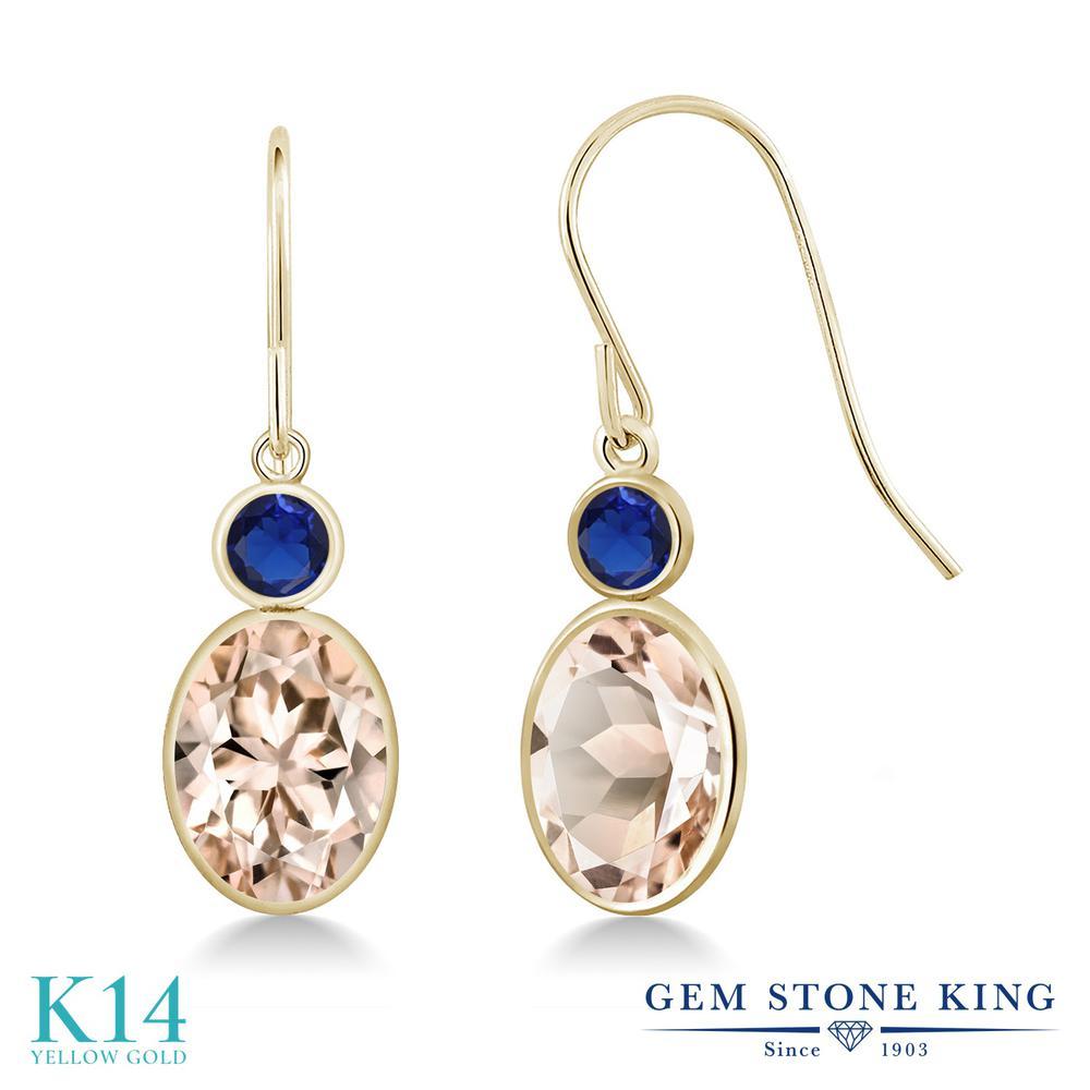 Gem Stone King 2.26カラット 天然 モルガナイト (ピーチ) シミュレイテッド サファイア 14金 イエローゴールド(K14) ピアス レディース 大粒 ぶら下がり フレンチワイヤー 天然石 3月 誕生石 金属アレルギー対応 誕生日プレゼント