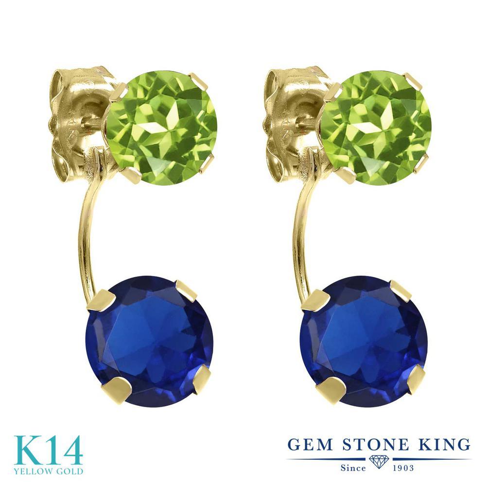 Gem Stone King 3.2カラット シミュレイテッド サファイア 天然石 ペリドット 14金 イエローゴールド(K14) ピアス レディース 大粒 ぶら下がり 金属アレルギー対応 誕生日プレゼント