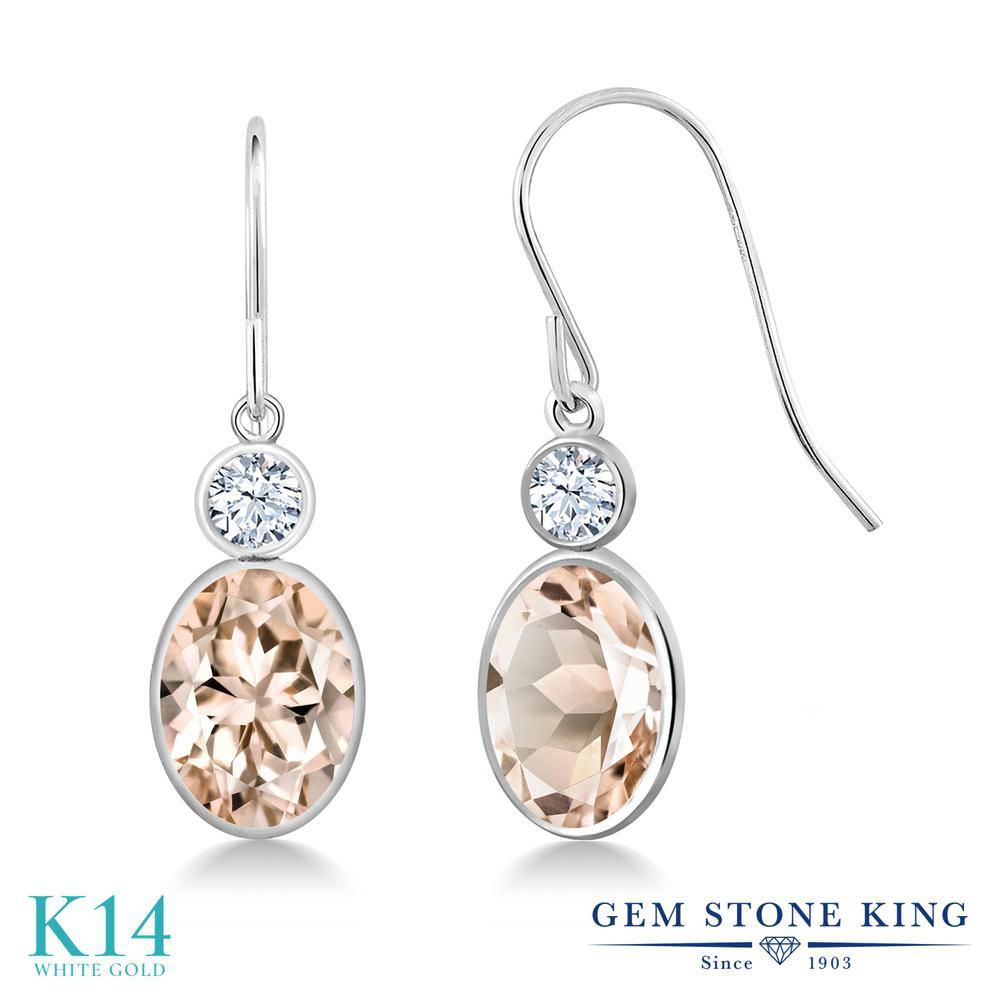 Gem Stone King 2.26カラット 天然 モルガナイト (ピーチ) 合成ホワイトサファイア (ダイヤのような無色透明) 14金 ホワイトゴールド(K14) ピアス レディース 大粒 ぶら下がり フレンチワイヤー 天然石 3月 誕生石 金属アレルギー対応 誕生日プレゼント