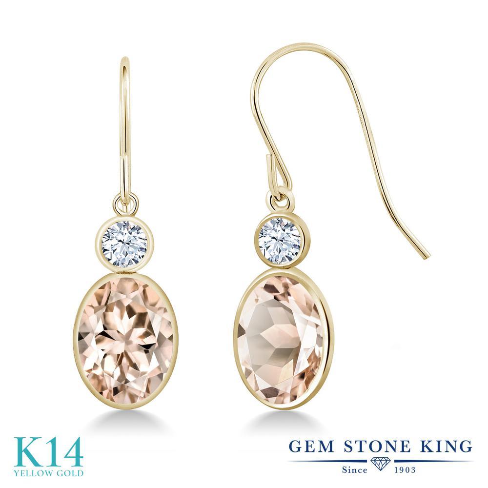 Gem Stone King 2.26カラット 天然 モルガナイト (ピーチ) 合成ホワイトサファイア (ダイヤのような無色透明) 14金 イエローゴールド(K14) ピアス レディース 大粒 ぶら下がり フレンチワイヤー 天然石 3月 誕生石 金属アレルギー対応 誕生日プレゼント