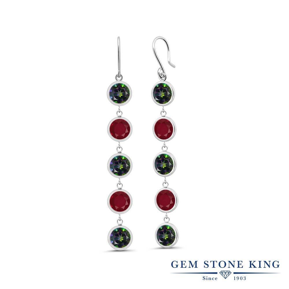 Gem Stone King 5.1カラット 天然石 ミスティックトパーズ (グリーン) 天然 ルビー シルバー925 ピアス レディース 大粒 ぶら下がり フレンチワイヤー 天然石 金属アレルギー対応 誕生日プレゼント