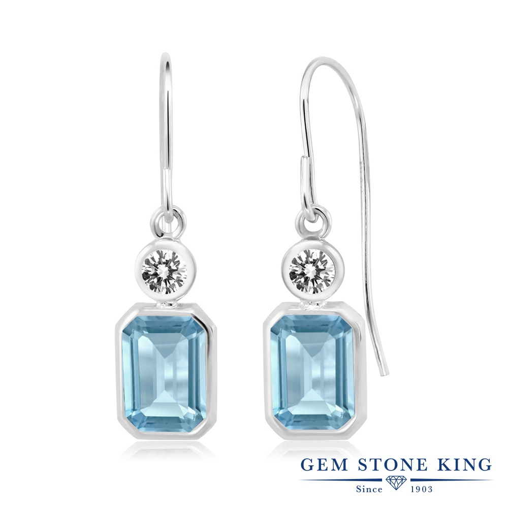 Gem Stone King 2.5カラット 天然 スカイブルートパーズ 天然 ダイヤモンド シルバー925 ピアス レディース 大粒 ぶら下がり フレンチワイヤー 天然石 11月 誕生石 金属アレルギー対応 誕生日プレゼント