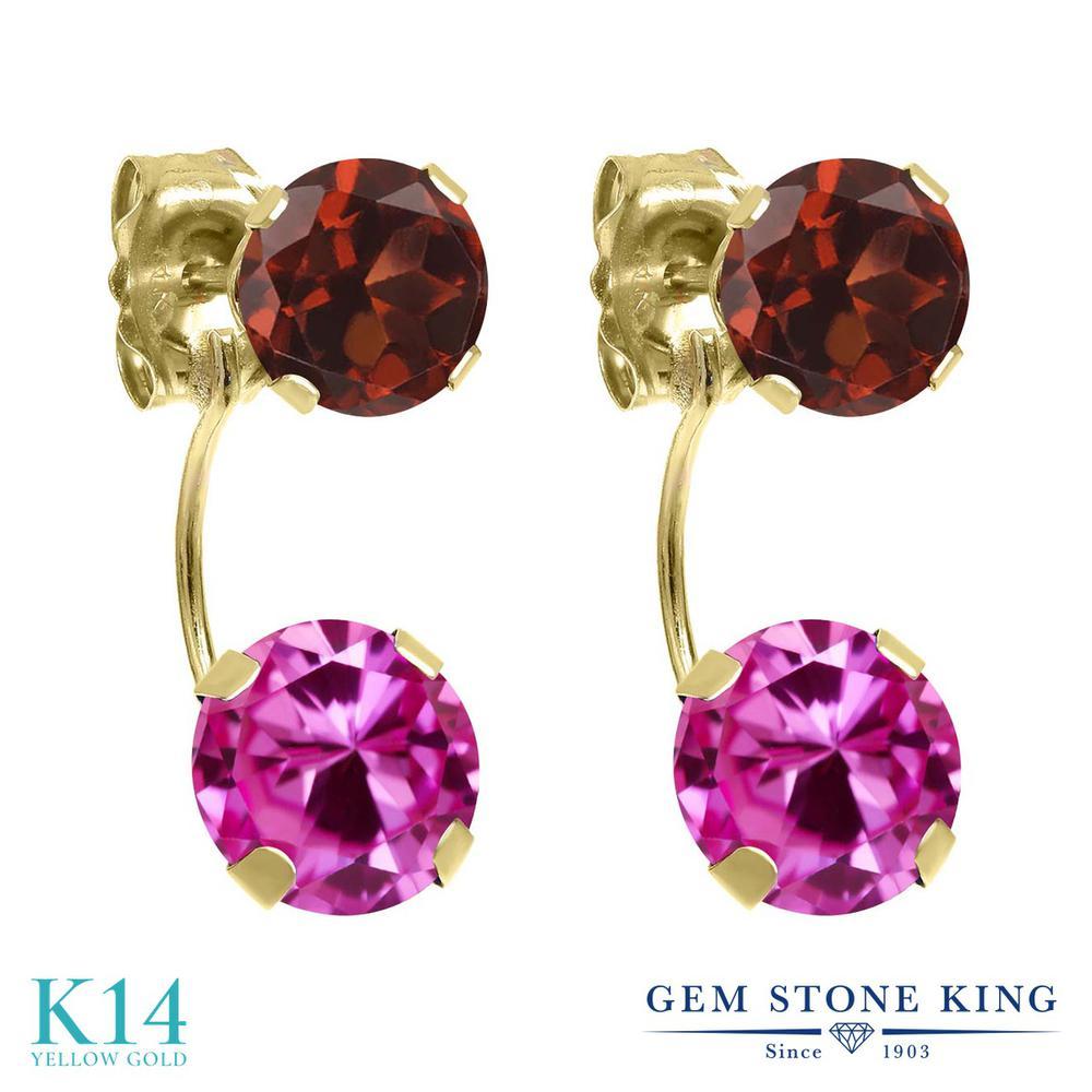 Gem Stone King 3.2カラット 合成ピンクサファイア 天然 ガーネット 14金 イエローゴールド(K14) ピアス レディース 大粒 ぶら下がり 金属アレルギー対応 誕生日プレゼント