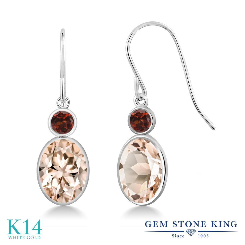 Gem Stone King 2.24カラット 天然 モルガナイト (ピーチ) 天然 ガーネット 14金 ホワイトゴールド(K14) ピアス レディース 大粒 ぶら下がり フレンチワイヤー 天然石 3月 誕生石 金属アレルギー対応 誕生日プレゼント