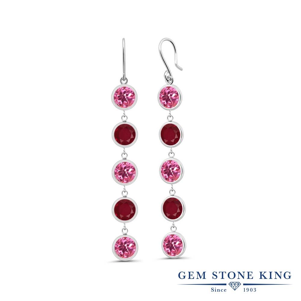 Gem Stone King 5.1カラット 天然 ミスティックトパーズ (ピンク) 天然 ルビー シルバー925 ピアス レディース 大粒 ぶら下がり フレンチワイヤー 天然石 金属アレルギー対応 誕生日プレゼント