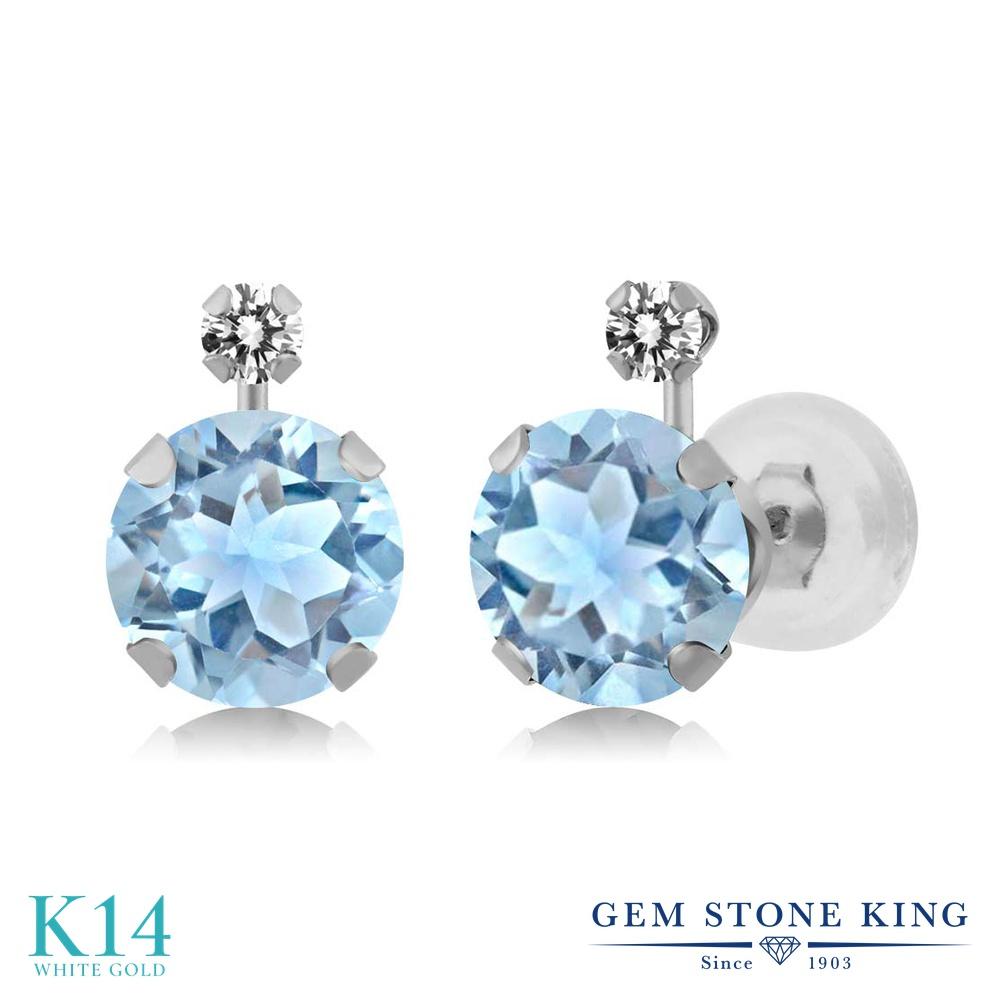 Gem Stone King 2.45カラット 天然 スカイブルートパーズ 天然 ダイヤモンド 14金 ホワイトゴールド(K14) ピアス レディース 大粒 スタッド 天然石 11月 誕生石 金属アレルギー対応 誕生日プレゼント