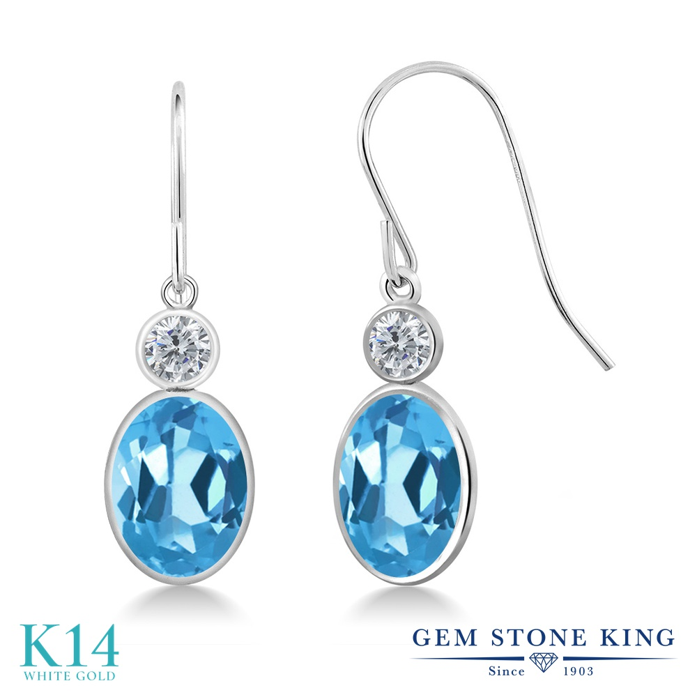 Gem Stone King 3カラット 天然 スイスブルートパーズ 天然 ダイヤモンド 14金 ホワイトゴールド(K14) ピアス レディース 大粒 ぶら下がり フレンチワイヤー 天然石 11月 誕生石 金属アレルギー対応 誕生日プレゼント