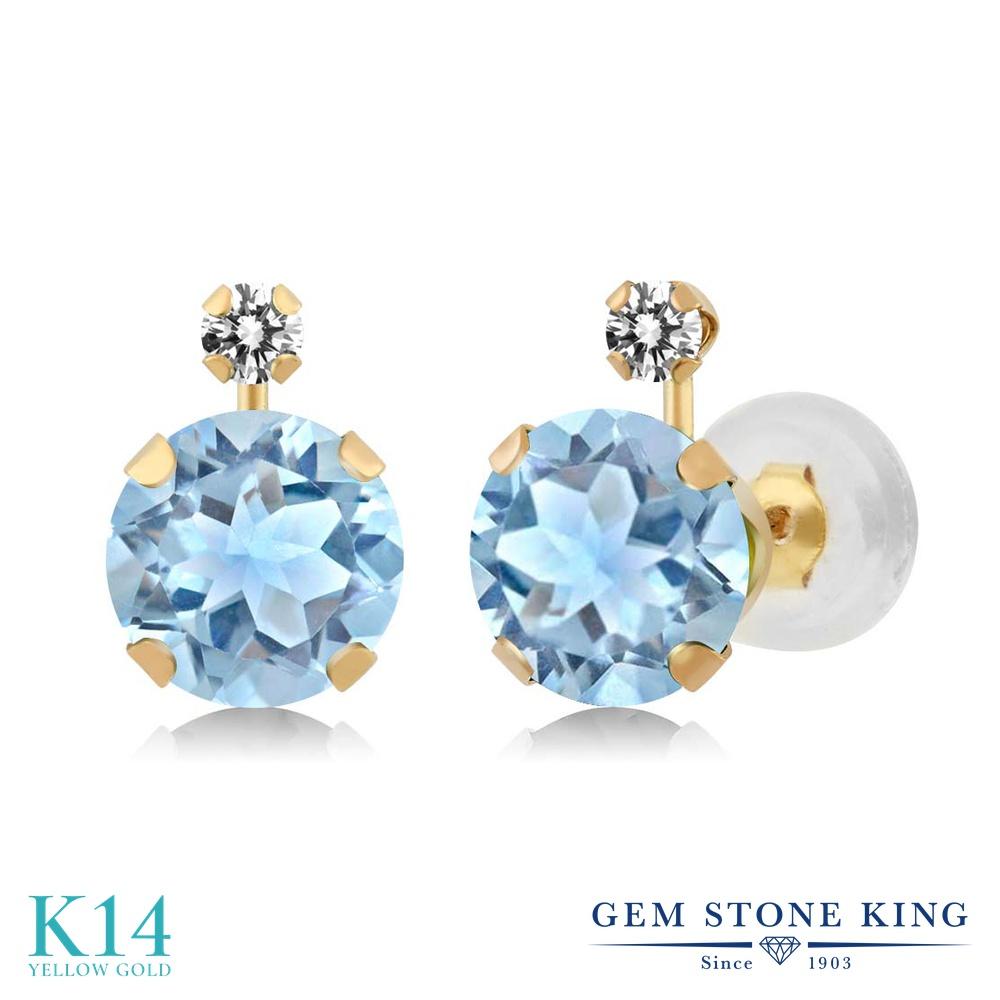 Gem Stone King 2.45カラット 天然 スカイブルートパーズ 天然 ダイヤモンド 14金 イエローゴールド(K14) ピアス レディース 大粒 スタッド 天然石 11月 誕生石 金属アレルギー対応 誕生日プレゼント