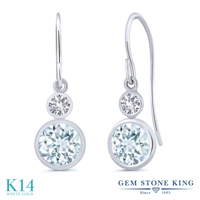 Gem Stone King 1.76カラット 天然 アクアマリン 合成ホワイトサファイア (ダイヤのような無色透明) 14金 ホワイトゴールド(K14) ピアス レディース ぶら下がり フレンチワイヤー 天然石 3月 誕生石 金属アレルギー対応 誕生日プレゼント