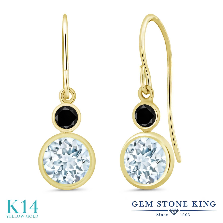 Gem Stone King 1.7カラット 天然 アクアマリン 天然ブラックダイヤモンド 14金 イエローゴールド(K14) ピアス レディース ぶら下がり フレンチワイヤー 天然石 3月 誕生石 金属アレルギー対応 誕生日プレゼント