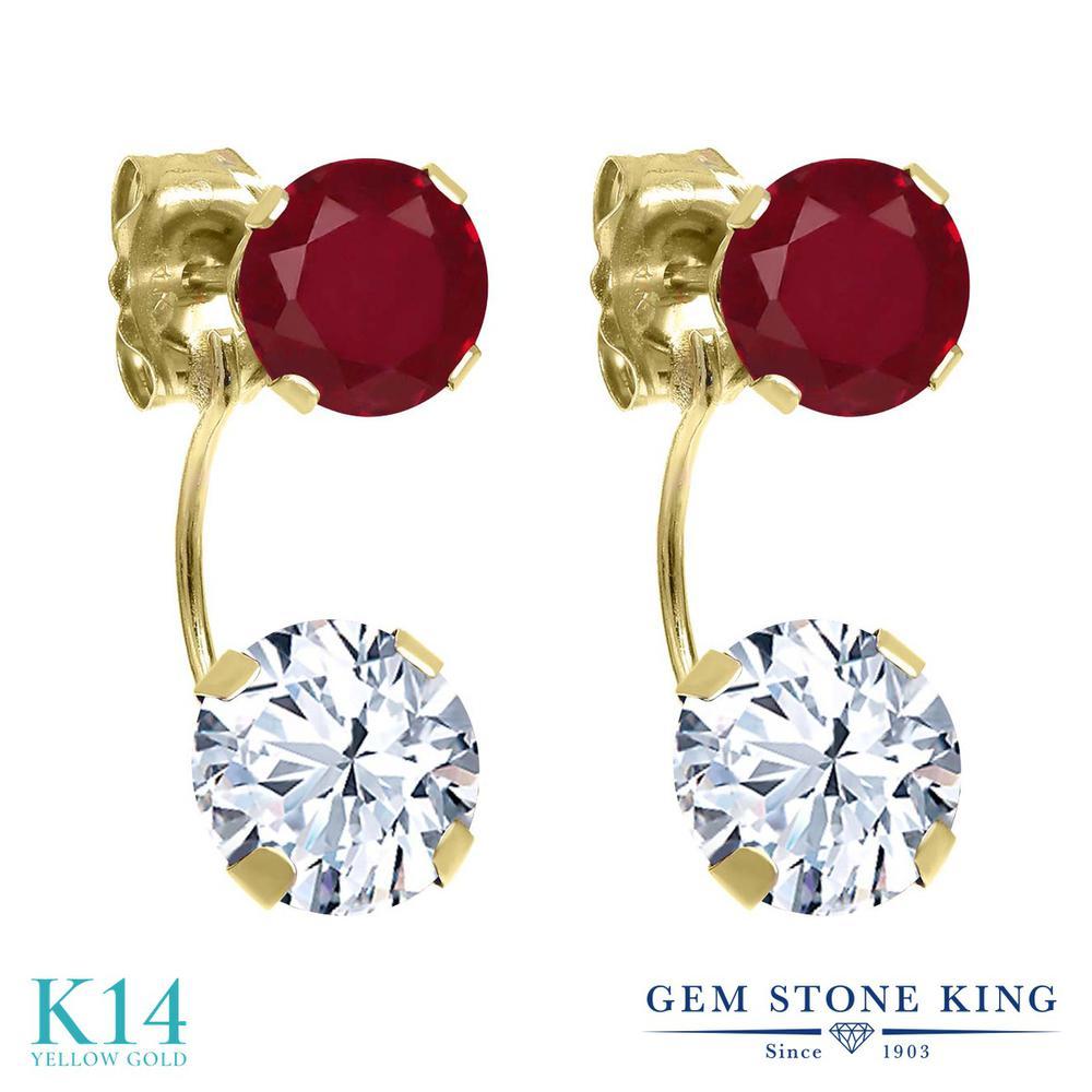 Gem Stone King 2.8カラット ジルコニア (無色透明) 天然 ルビー 14金 イエローゴールド(K14) ピアス レディース CZ ぶら下がり 金属アレルギー対応 誕生日プレゼント