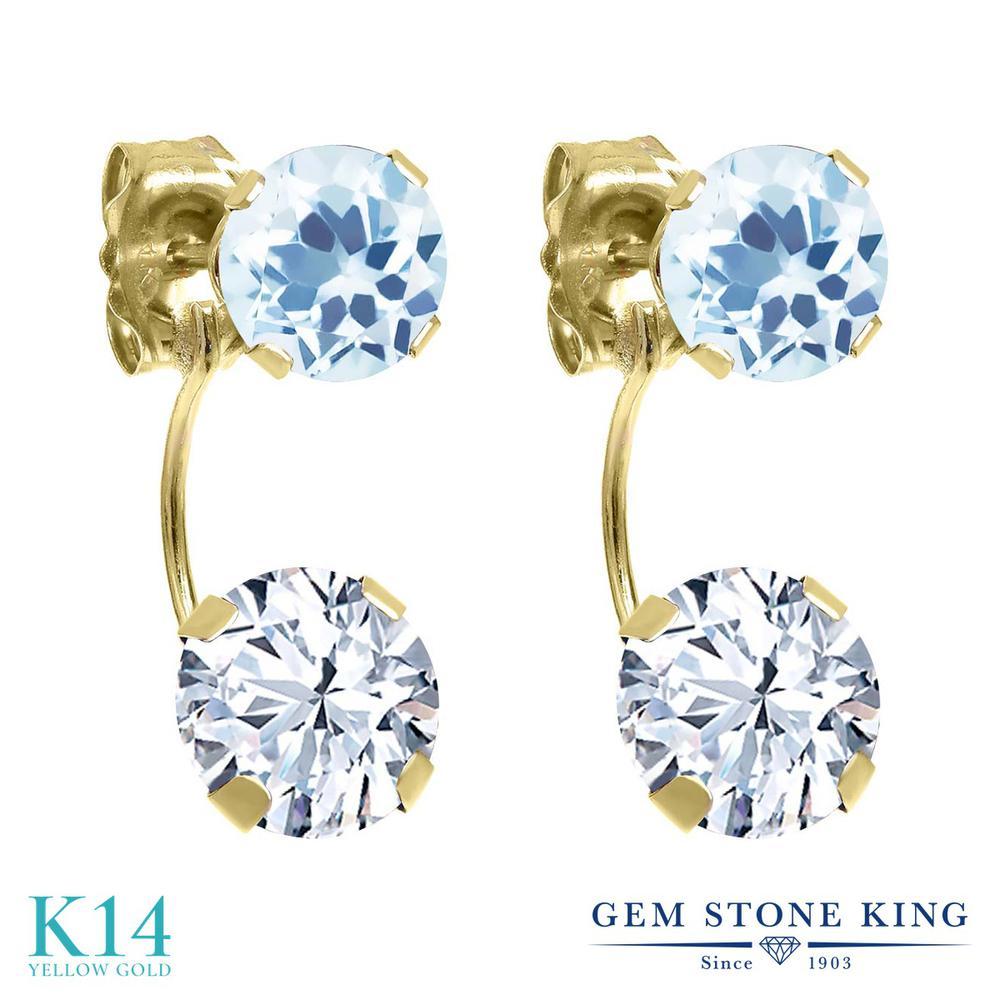 Gem Stone King 3.08カラット ジルコニア (無色透明) 天然 スカイブルートパーズ 14金 イエローゴールド(K14) ピアス レディース CZ ぶら下がり 金属アレルギー対応 誕生日プレゼント