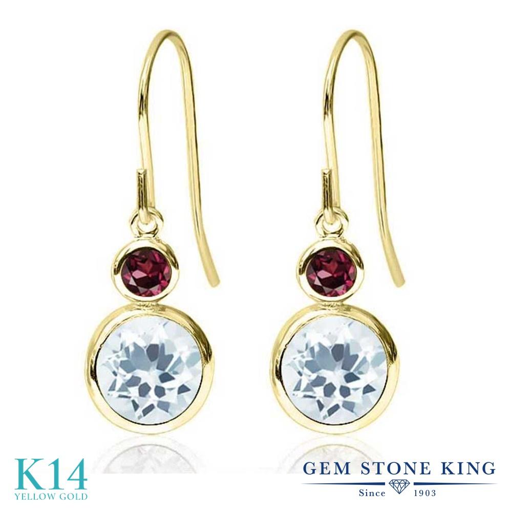 Gem Stone King 1.74カラット 天然アクアマリン 天然ロードライトガーネット 14金 イエローゴールド(K14) ピアス レディース ぶら下がり フレンチワイヤー 天然石 誕生石 金属アレルギー対応 誕生日プレゼント