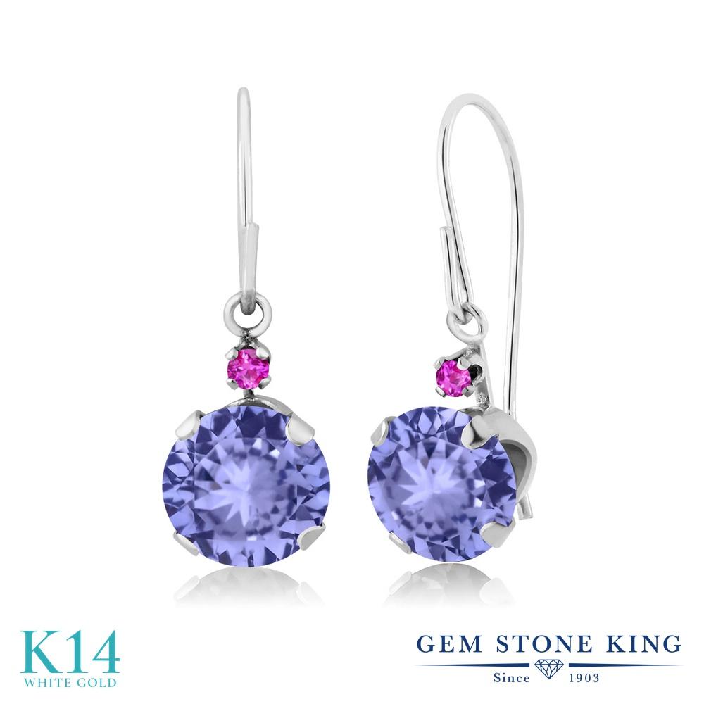Gem Stone King 1.84カラット 天然石 タンザナイト 天然 ピンクサファイア 14金 ホワイトゴールド(K14) ピアス レディース ぶら下がり アメリカン 揺れる 天然石 12月 誕生石 金属アレルギー対応 誕生日プレゼント