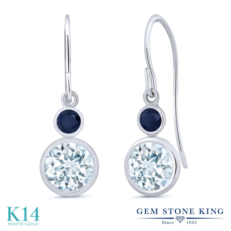 Gem Stone King 1.76カラット 天然 アクアマリン 天然 サファイア 14金 ホワイトゴールド(K14) ピアス レディース ぶら下がり フレンチワイヤー 天然石 3月 誕生石 金属アレルギー対応 誕生日プレゼント
