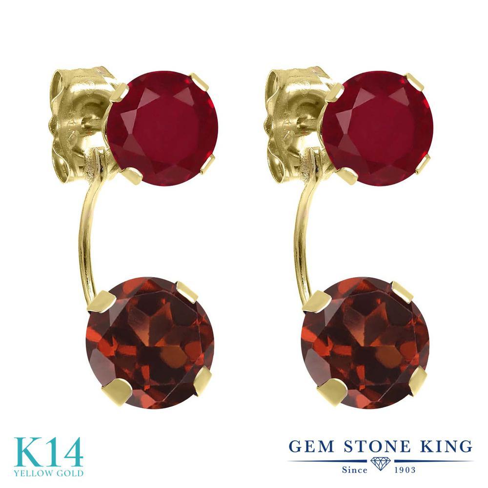 Gem Stone King 3.12カラット 天然 ガーネット 天然 ルビー 14金 イエローゴールド(K14) ピアス レディース 大粒 ぶら下がり 天然石 1月 誕生石 金属アレルギー対応 誕生日プレゼント