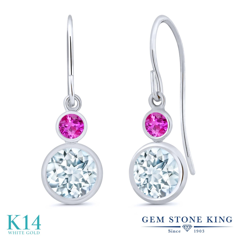 Gem Stone King 1.76カラット 天然 アクアマリン ピンクサファイア 14金 ホワイトゴールド(K14) ピアス レディース ぶら下がり フレンチワイヤー 天然石 3月 誕生石 金属アレルギー対応 誕生日プレゼント