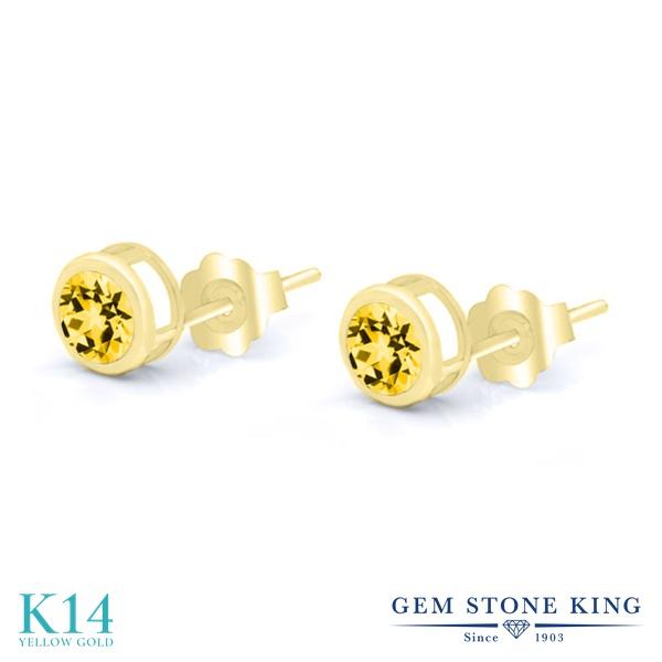 Gem Stone King 1.3カラット 天然石 トパーズ ハニースワロフスキー 14金 イエローゴールド(K14) ピアス レディース シンプル スタッド 天然石 金属アレルギー対応 誕生日プレゼント
