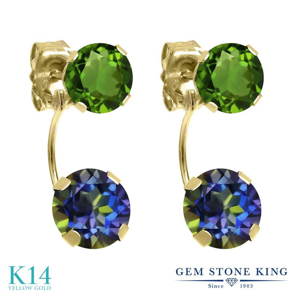 Gem Stone King 2.60カラット 天然石 ミスティックトパーズ(ブルー) 天然クロムダイオプサイド 14金 イエローゴールド(K14) ピアス レディース ぶら下がり 天然石 金属アレルギー対応 誕生日プレゼント