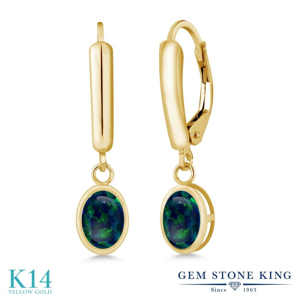 Gem Stone King 1.26カラット シミュレイテッドオパール(グリーン) 14金 イエローゴールド(K14) ピアス レディース シンプル ぶら下がり レバーバック 誕生石 金属アレルギー対応 誕生日プレゼント
